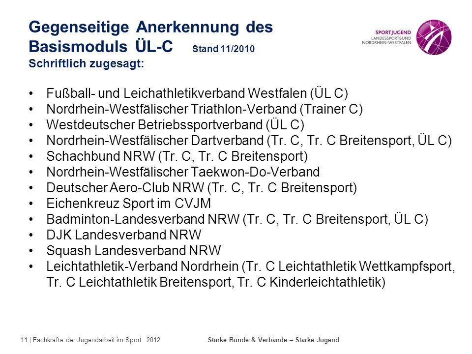 11 | Fachkräfte der Jugendarbeit im Sport 2012 Starke Bünde & Verbände – Starke Jugend Gegenseitige Anerkennung des Basismoduls ÜL-C Stand 11/2010 Sch