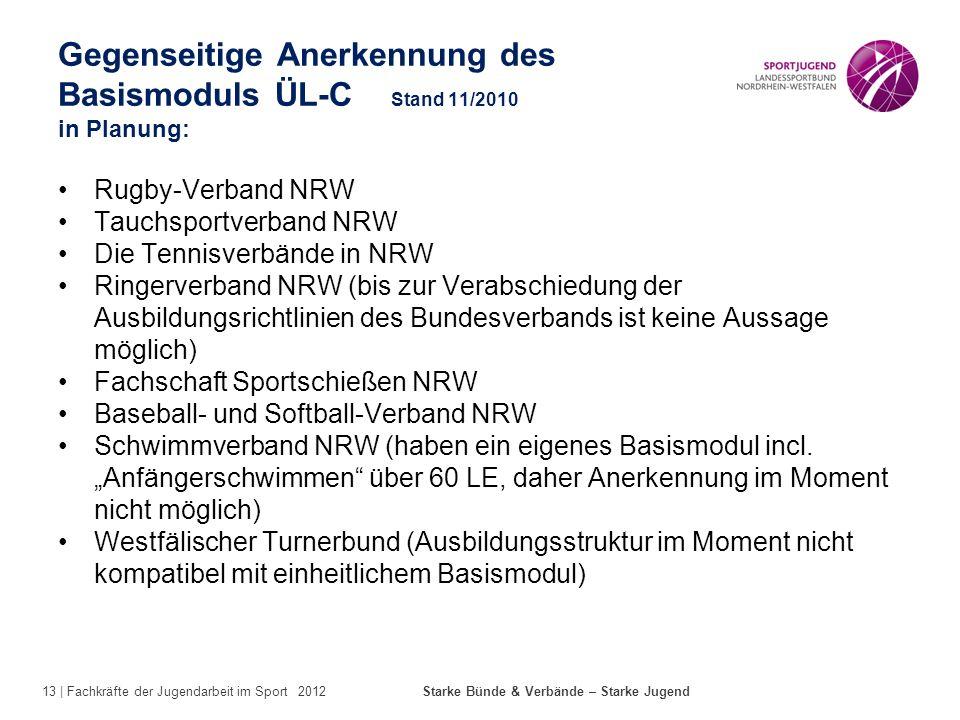 13 | Fachkräfte der Jugendarbeit im Sport 2012 Starke Bünde & Verbände – Starke Jugend Gegenseitige Anerkennung des Basismoduls ÜL-C Stand 11/2010 in