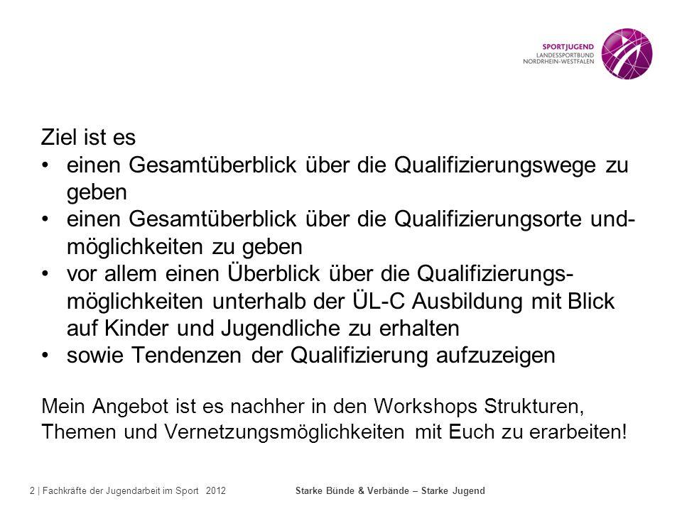 2 | Fachkräfte der Jugendarbeit im Sport 2012 Starke Bünde & Verbände – Starke Jugend Ziel ist es einen Gesamtüberblick über die Qualifizierungswege z
