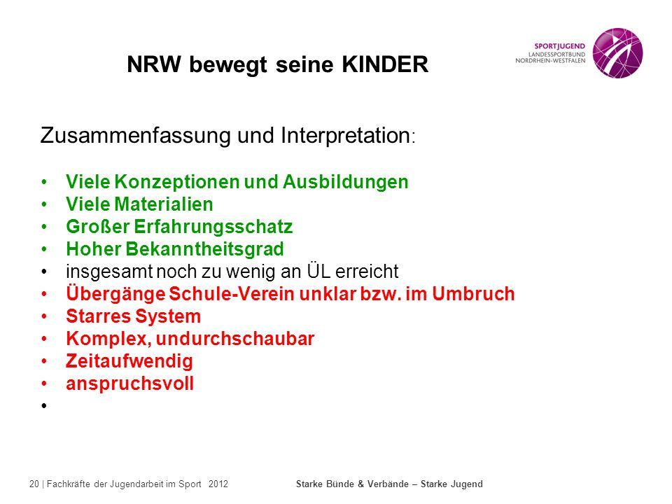 20 | Fachkräfte der Jugendarbeit im Sport 2012 Starke Bünde & Verbände – Starke Jugend NRW bewegt seine KINDER Zusammenfassung und Interpretation : Vi