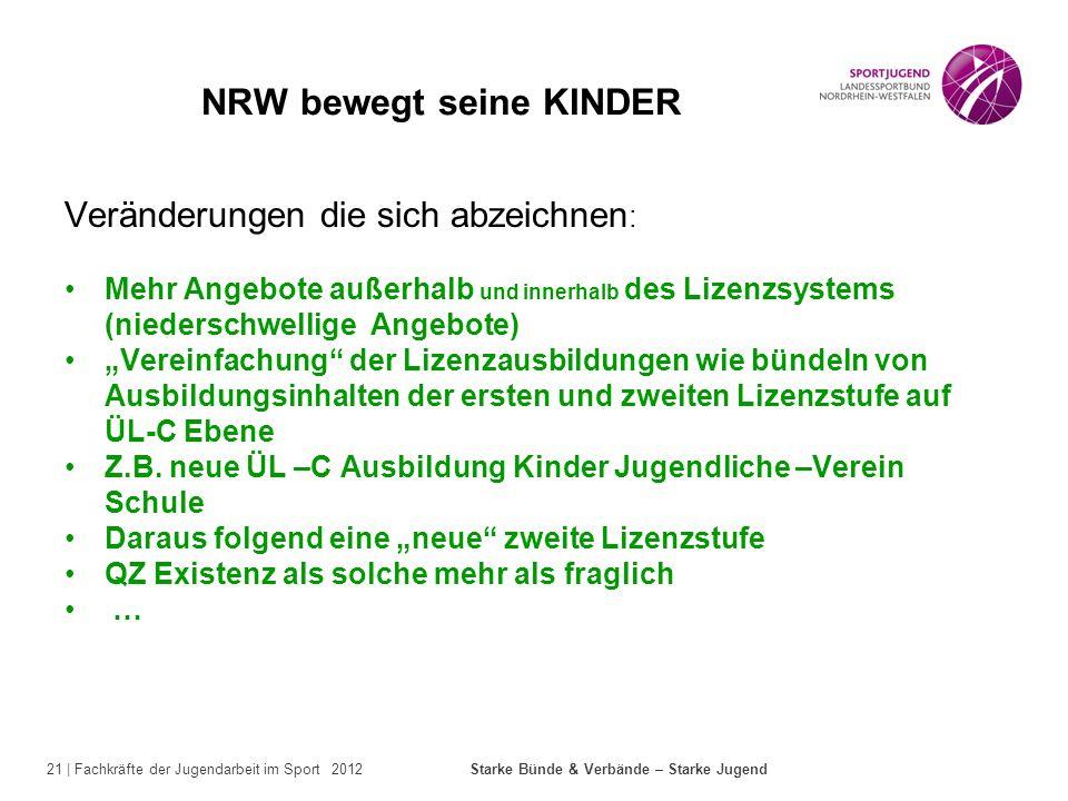 21 | Fachkräfte der Jugendarbeit im Sport 2012 Starke Bünde & Verbände – Starke Jugend NRW bewegt seine KINDER Veränderungen die sich abzeichnen : Meh