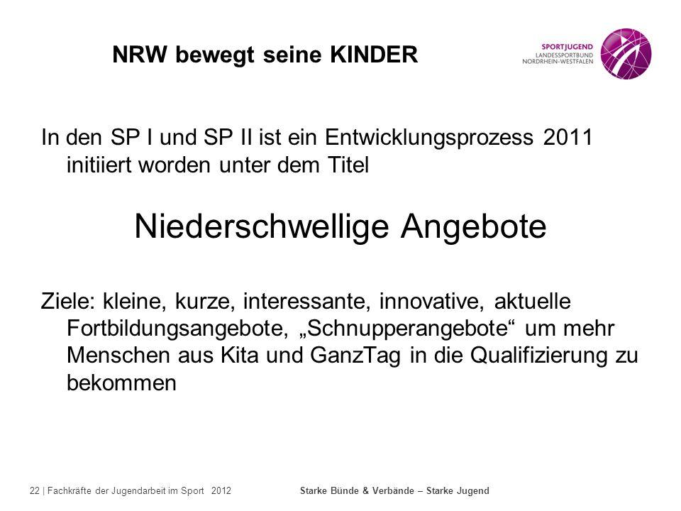 22 | Fachkräfte der Jugendarbeit im Sport 2012 Starke Bünde & Verbände – Starke Jugend NRW bewegt seine KINDER In den SP I und SP II ist ein Entwicklu