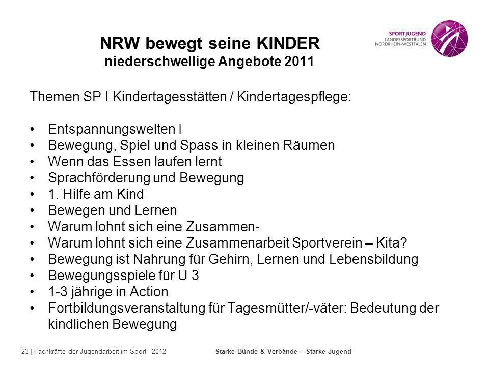 23 | Fachkräfte der Jugendarbeit im Sport 2012 Starke Bünde & Verbände – Starke Jugend NRW bewegt seine KINDER niederschwellige Angebote 2011 Themen S