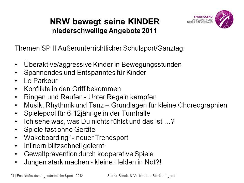 24 | Fachkräfte der Jugendarbeit im Sport 2012 Starke Bünde & Verbände – Starke Jugend NRW bewegt seine KINDER niederschwellige Angebote 2011 Themen S