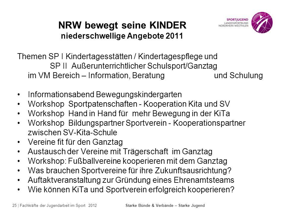 25 | Fachkräfte der Jugendarbeit im Sport 2012 Starke Bünde & Verbände – Starke Jugend NRW bewegt seine KINDER niederschwellige Angebote 2011 Themen S