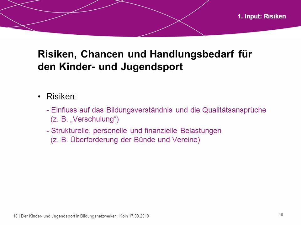 10 | Der Kinder- und Jugendsport in Bildungsnetzwerken, Köln 17.03.2010 10 Risiken, Chancen und Handlungsbedarf für den Kinder- und Jugendsport Risike
