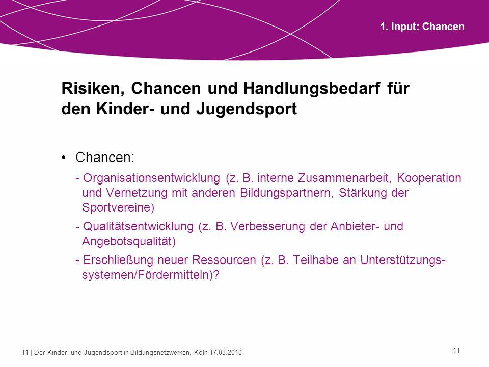 11 | Der Kinder- und Jugendsport in Bildungsnetzwerken, Köln 17.03.2010 11 Risiken, Chancen und Handlungsbedarf für den Kinder- und Jugendsport Chance