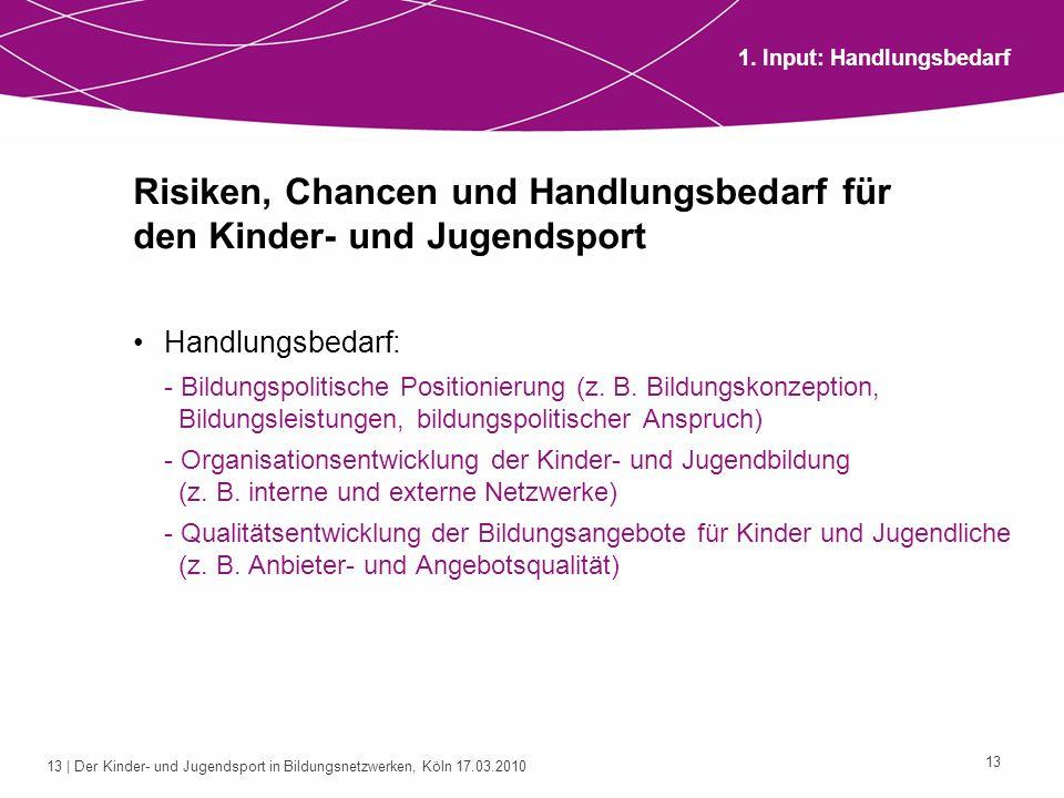 13 | Der Kinder- und Jugendsport in Bildungsnetzwerken, Köln 17.03.2010 13 Risiken, Chancen und Handlungsbedarf für den Kinder- und Jugendsport Handlu
