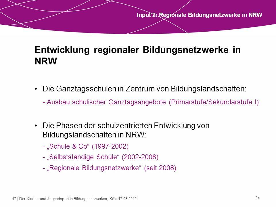 17 | Der Kinder- und Jugendsport in Bildungsnetzwerken, Köln 17.03.2010 17 Entwicklung regionaler Bildungsnetzwerke in NRW Die Ganztagsschulen in Zent