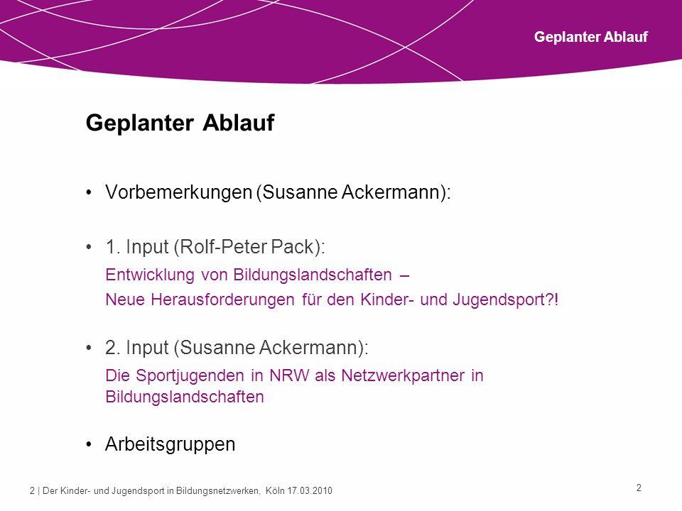 2 | Der Kinder- und Jugendsport in Bildungsnetzwerken, Köln 17.03.2010 2 Geplanter Ablauf Vorbemerkungen (Susanne Ackermann): 1. Input (Rolf-Peter Pac