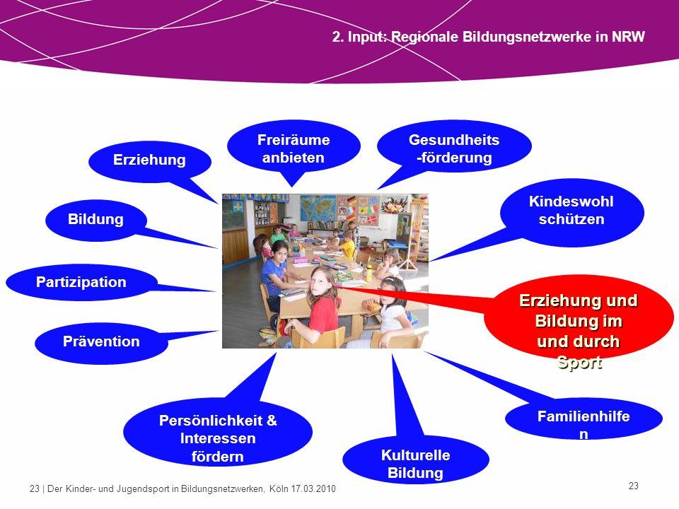 23 | Der Kinder- und Jugendsport in Bildungsnetzwerken, Köln 17.03.2010 23 2. Input: Regionale Bildungsnetzwerke in NRW Bildung Kulturelle Bildung Par