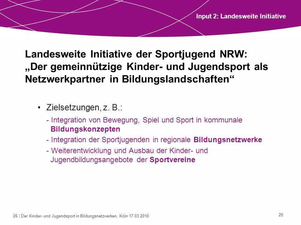 26 | Der Kinder- und Jugendsport in Bildungsnetzwerken, Köln 17.03.2010 26 Landesweite Initiative der Sportjugend NRW: Der gemeinnützige Kinder- und J