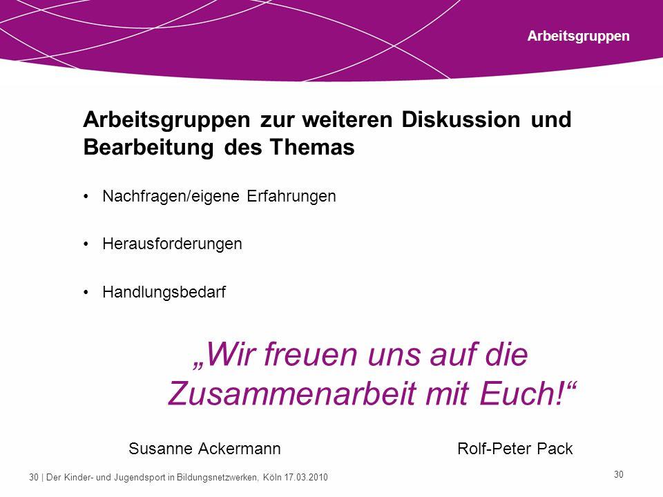 30 | Der Kinder- und Jugendsport in Bildungsnetzwerken, Köln 17.03.2010 30 Arbeitsgruppen zur weiteren Diskussion und Bearbeitung des Themas Nachfrage