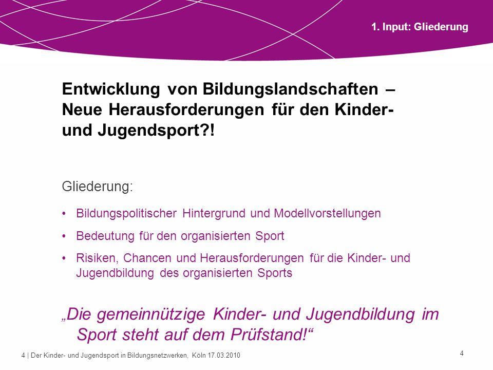 4 | Der Kinder- und Jugendsport in Bildungsnetzwerken, Köln 17.03.2010 4 Entwicklung von Bildungslandschaften – Neue Herausforderungen für den Kinder-