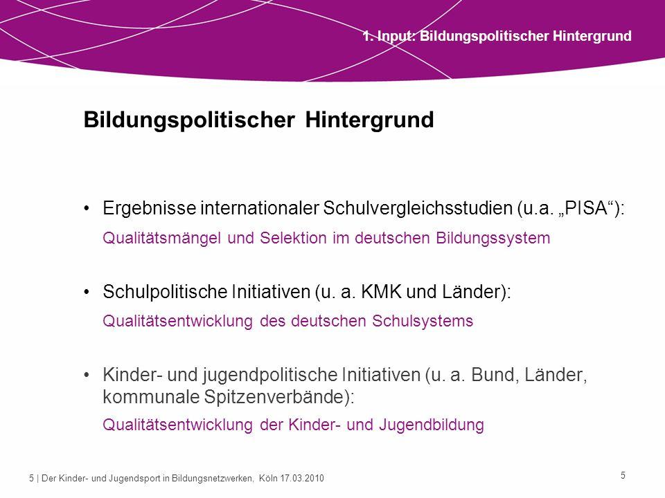5 | Der Kinder- und Jugendsport in Bildungsnetzwerken, Köln 17.03.2010 5 Bildungspolitischer Hintergrund Ergebnisse internationaler Schulvergleichsstu