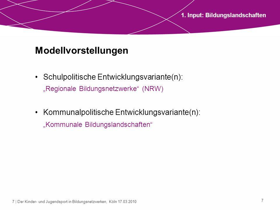 7 | Der Kinder- und Jugendsport in Bildungsnetzwerken, Köln 17.03.2010 7 Modellvorstellungen Schulpolitische Entwicklungsvariante(n): Regionale Bildun