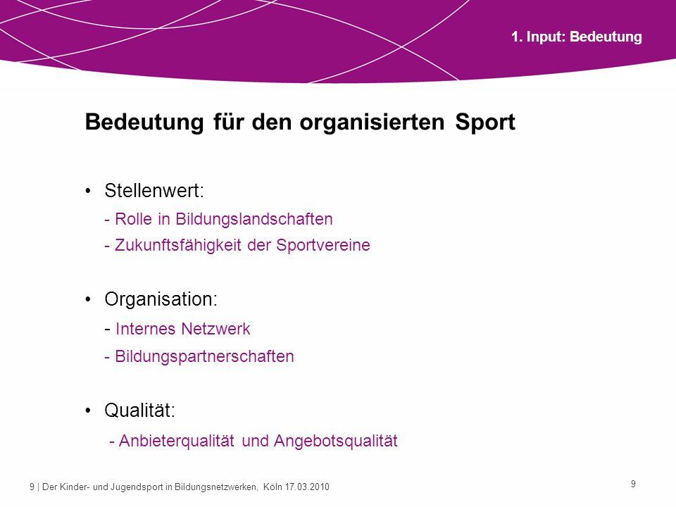 9 | Der Kinder- und Jugendsport in Bildungsnetzwerken, Köln 17.03.2010 9 Bedeutung für den organisierten Sport Stellenwert: - Rolle in Bildungslandsch