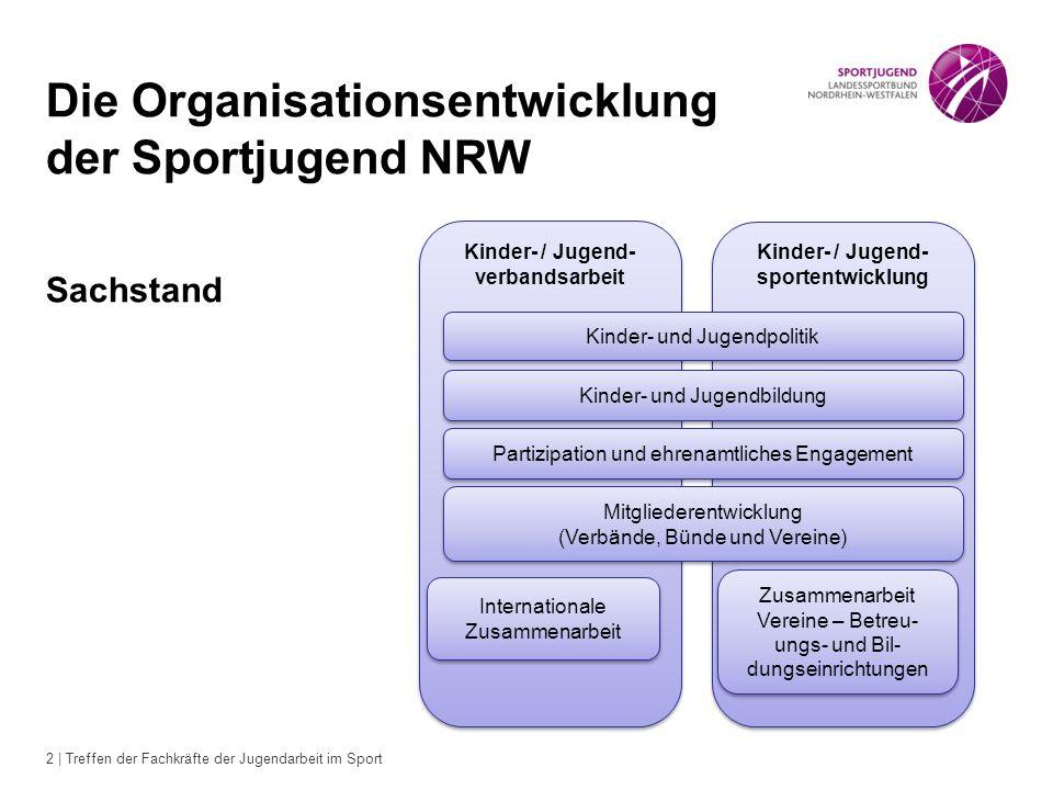 2 | Treffen der Fachkräfte der Jugendarbeit im Sport Die Organisationsentwicklung der Sportjugend NRW Sachstand Kinder- / Jugend- verbandsarbeit Kinde