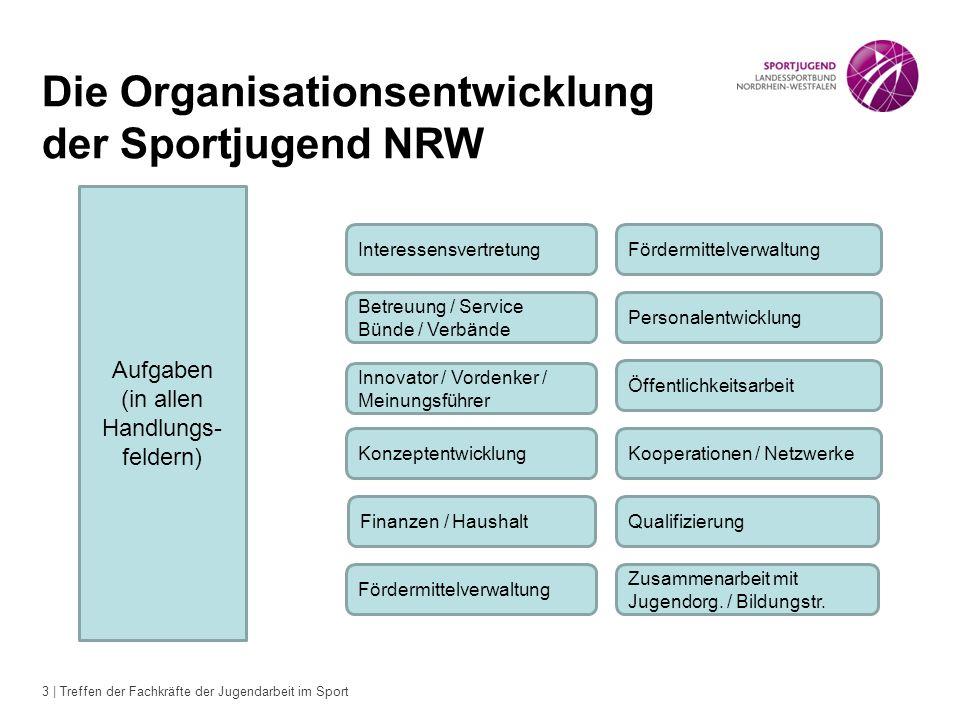 3 | Treffen der Fachkräfte der Jugendarbeit im Sport Die Organisationsentwicklung der Sportjugend NRW Aufgaben (in allen Handlungs- feldern) Interesse