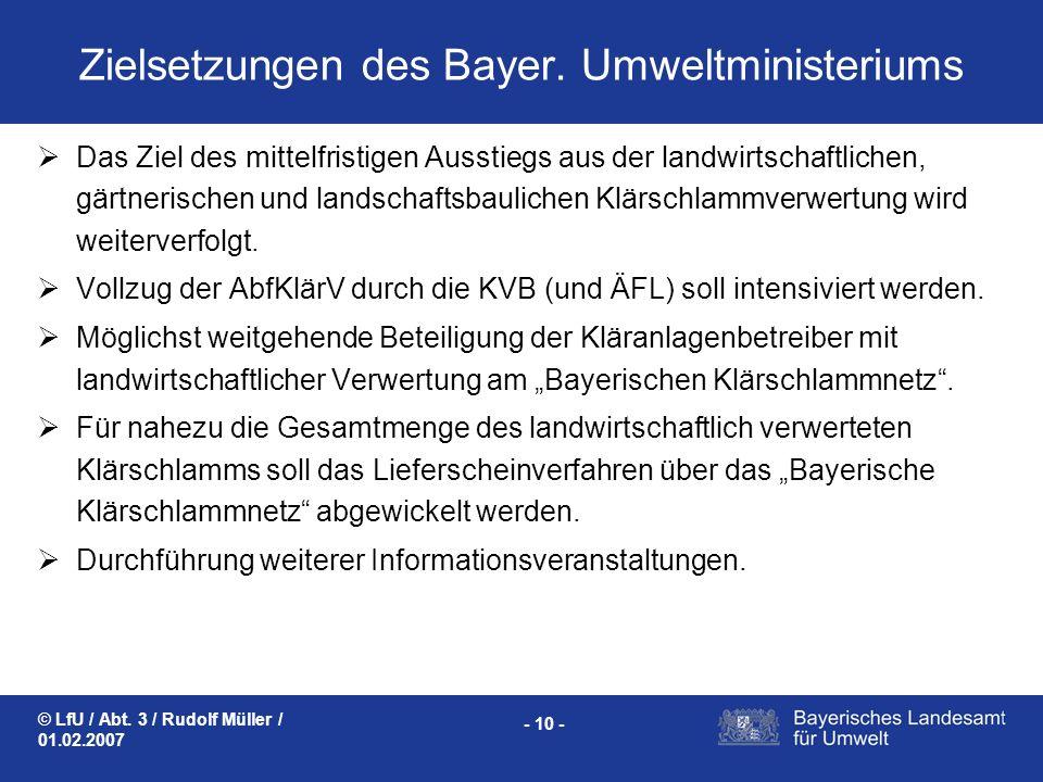 © LfU / Abt. 3 / Rudolf Müller / 01.02.2007 - 10 - Zielsetzungen des Bayer. Umweltministeriums Das Ziel des mittelfristigen Ausstiegs aus der landwirt