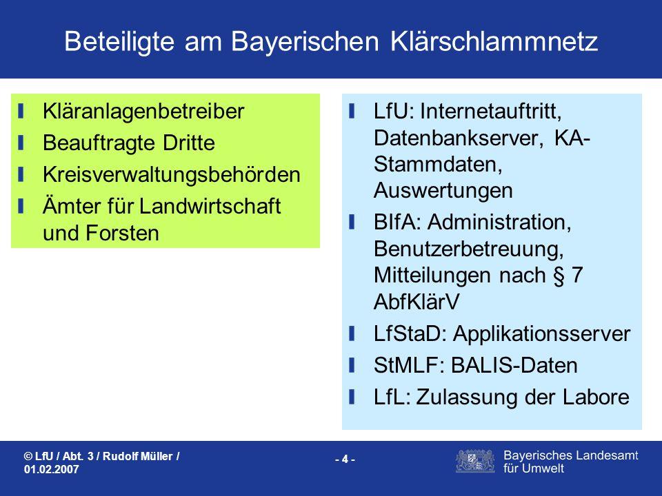 © LfU / Abt. 3 / Rudolf Müller / 01.02.2007 - 4 - Beteiligte am Bayerischen Klärschlammnetz LfU: Internetauftritt, Datenbankserver, KA- Stammdaten, Au