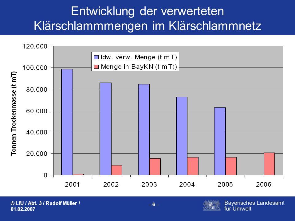 © LfU / Abt. 3 / Rudolf Müller / 01.02.2007 - 6 - Entwicklung der verwerteten Klärschlammmengen im Klärschlammnetz