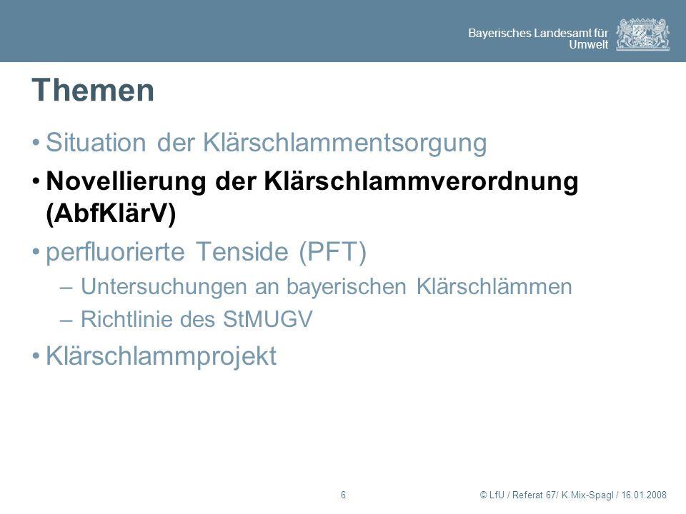 Bayerisches Landesamt für Umwelt © LfU / Referat 67/ K.Mix-Spagl / 16.01.200817 Arbeitsentwurf des BMU zur Novellierung der Klärschlammverordnung – Schwermetalle Grenzwerte AbfKlärV Abf- KlärV 1992 Eck- punkte 2006 Arbeitsentwurf 2007 Pbmg/kg mT900100120 Cdmg/kg mT10 (5)22,5 Crmg/kg mT90080100 Cumg/kg mT800(600)700 Nimg/kg mT20060 Hgmg/kg mT81,41,6 Znmg/kg mT 2.500 (2.000) (1.500)1500