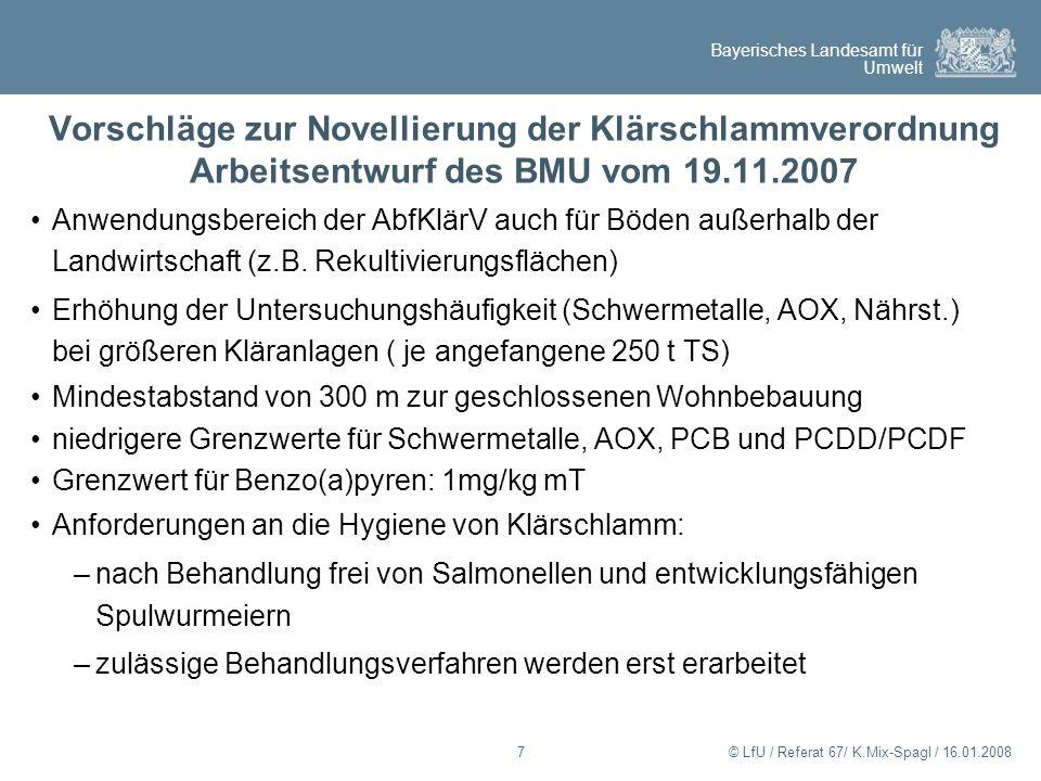 Bayerisches Landesamt für Umwelt © LfU / Referat 67/ K.Mix-Spagl / 16.01.200818 Arbeitsentwurf des BMU zur Novellierung der Klärschlammverordnung – organische Schadstoffe Grenzwerte AbfKlärV Abf- KlärV 1992 Eck- punkte 2006 Arbeitsentwurf 2007 PCB 28mg/kg mT0,20,1 PCB 52mg/kg mT0,20,1 PCB101mg/kg mT0,20,1 PCB138mg/kg mT0,20,1 PCB153mg/kg mT0,20,1 PCB180mg/kg mT0,20,1 PCDD/PCDFng TE/kg mT10030 AOXmg/kg mT500400