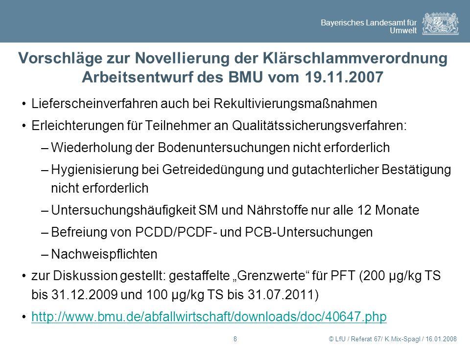 Bayerisches Landesamt für Umwelt © LfU / Referat 67/ K.Mix-Spagl / 16.01.20088 Vorschläge zur Novellierung der Klärschlammverordnung Arbeitsentwurf de