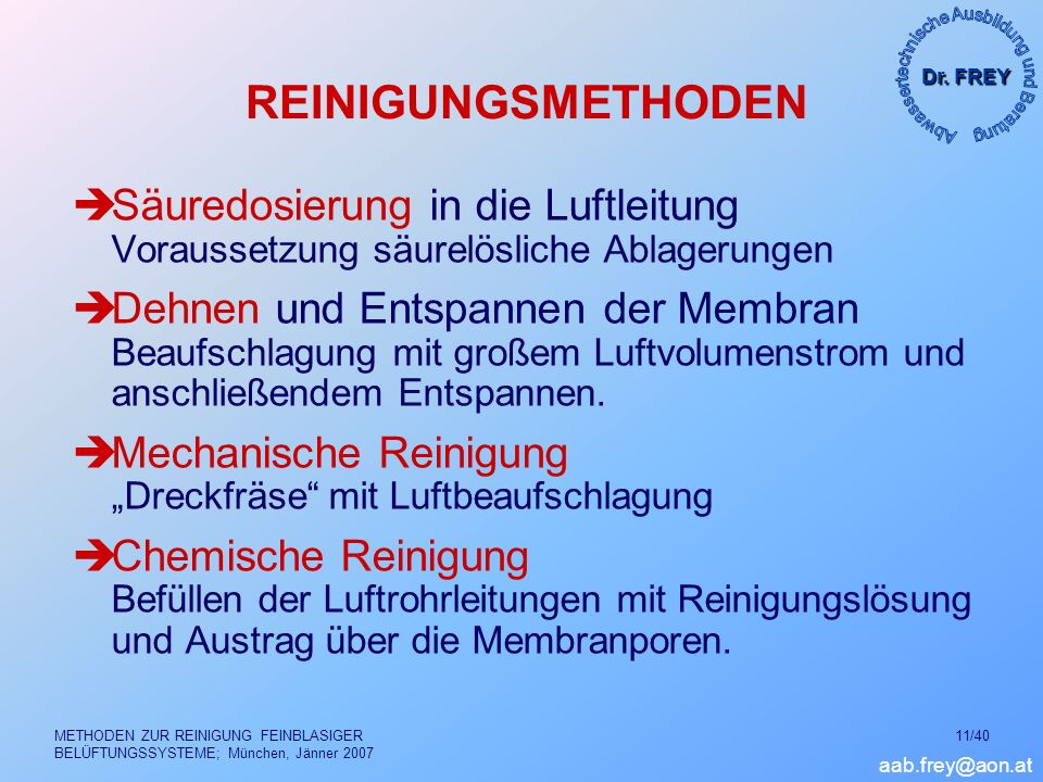 Dr. FREY aab.frey@aon.at METHODEN ZUR REINIGUNG FEINBLASIGER BELÜFTUNGSSYSTEME; München, Jänner 2007 11/40 REINIGUNGSMETHODEN Säuredosierung in die Lu
