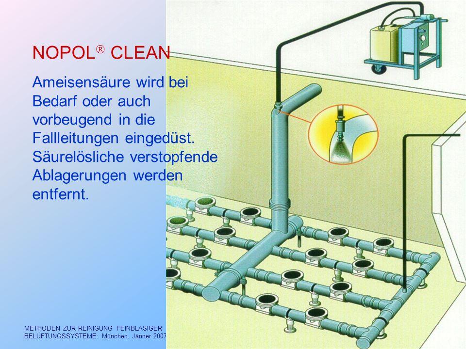Dr. FREY aab.frey@aon.at METHODEN ZUR REINIGUNG FEINBLASIGER BELÜFTUNGSSYSTEME; München, Jänner 2007 12/40 NOPOL CLEAN Ameisensäure wird bei Bedarf od