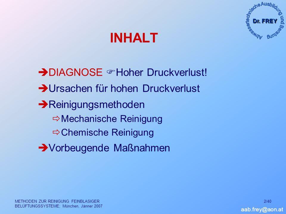 Dr. FREY aab.frey@aon.at METHODEN ZUR REINIGUNG FEINBLASIGER BELÜFTUNGSSYSTEME; München, Jänner 2007 2/40 INHALT DIAGNOSE Hoher Druckverlust! Ursachen