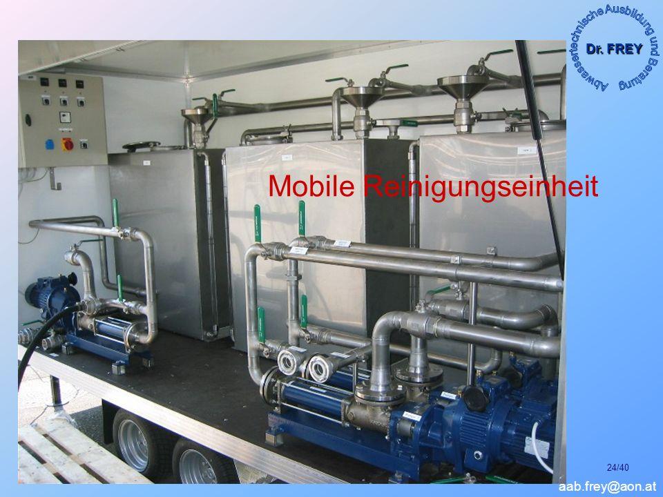 Dr. FREY aab.frey@aon.at METHODEN ZUR REINIGUNG FEINBLASIGER BELÜFTUNGSSYSTEME; München, Jänner 2007 24/40 Mobile Reinigungseinheit