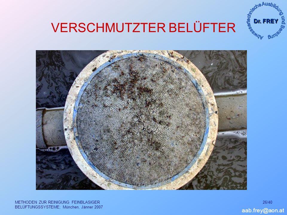 Dr. FREY aab.frey@aon.at METHODEN ZUR REINIGUNG FEINBLASIGER BELÜFTUNGSSYSTEME; München, Jänner 2007 26/40 VERSCHMUTZTER BELÜFTER