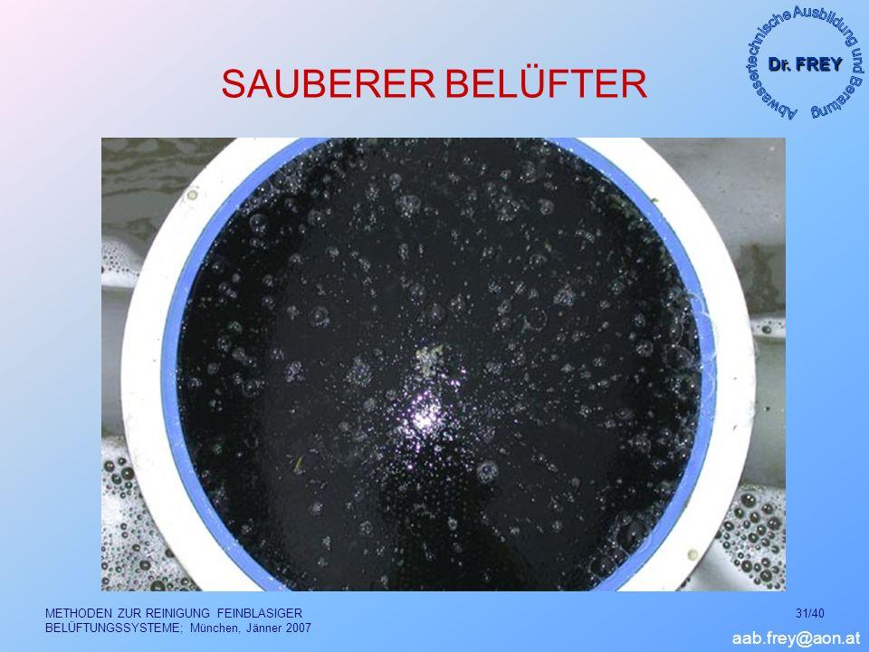 Dr. FREY aab.frey@aon.at METHODEN ZUR REINIGUNG FEINBLASIGER BELÜFTUNGSSYSTEME; München, Jänner 2007 31/40 SAUBERER BELÜFTER