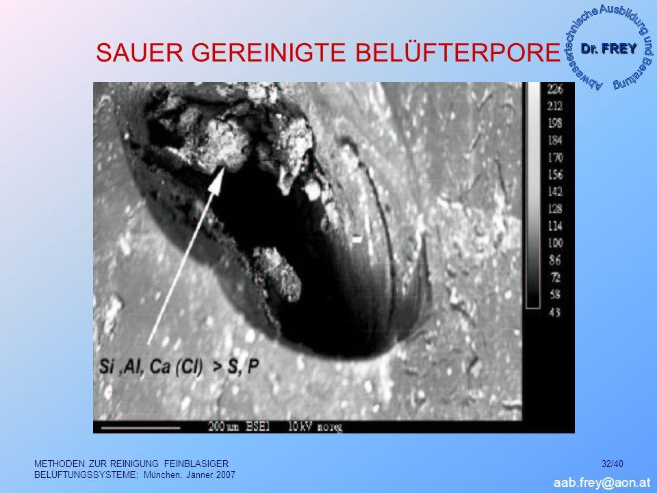 Dr. FREY aab.frey@aon.at METHODEN ZUR REINIGUNG FEINBLASIGER BELÜFTUNGSSYSTEME; München, Jänner 2007 32/40 SAUER GEREINIGTE BELÜFTERPORE