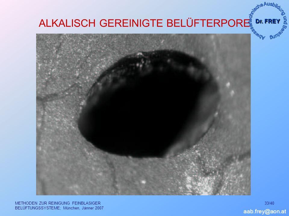Dr. FREY aab.frey@aon.at METHODEN ZUR REINIGUNG FEINBLASIGER BELÜFTUNGSSYSTEME; München, Jänner 2007 33/40 ALKALISCH GEREINIGTE BELÜFTERPORE
