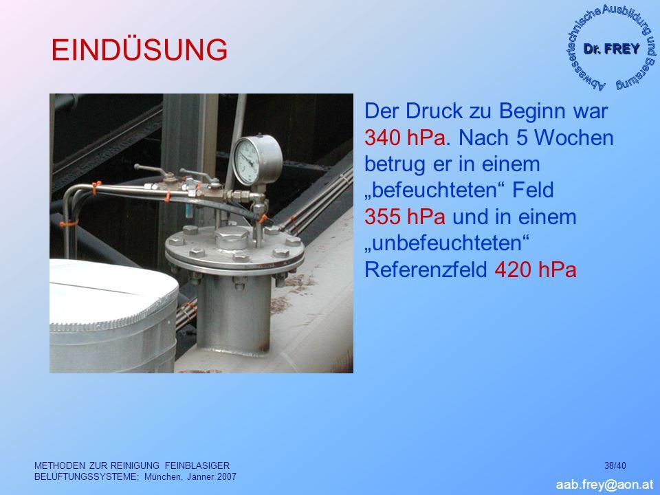 Dr. FREY aab.frey@aon.at METHODEN ZUR REINIGUNG FEINBLASIGER BELÜFTUNGSSYSTEME; München, Jänner 2007 38/40 EINDÜSUNG Der Druck zu Beginn war 340 hPa.