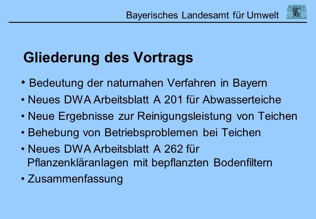 Gliederung des Vortrags Bedeutung der naturnahen Verfahren in Bayern Neues DWA Arbeitsblatt A 201 für Abwasserteiche Neue Ergebnisse zur Reinigungslei