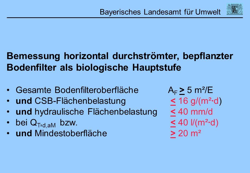 Bayerisches Landesamt für Umwelt 01.02.2006DWA Lehrertag Bemessung horizontal durchströmter, bepflanzter Bodenfilter als biologische Hauptstufe Gesamt