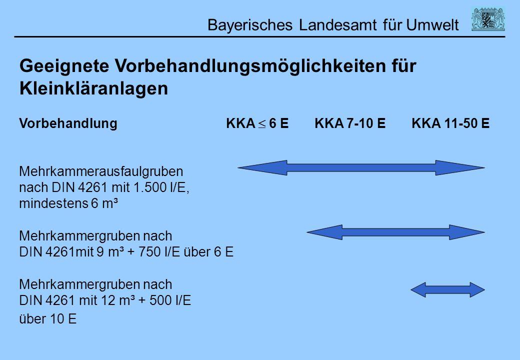 Bayerisches Landesamt für Umwelt 01.02.2006DWA Lehrertag Geeignete Vorbehandlungsmöglichkeiten für Kleinkläranlagen Vorbehandlung KKA 6 E KKA 7-10 E K