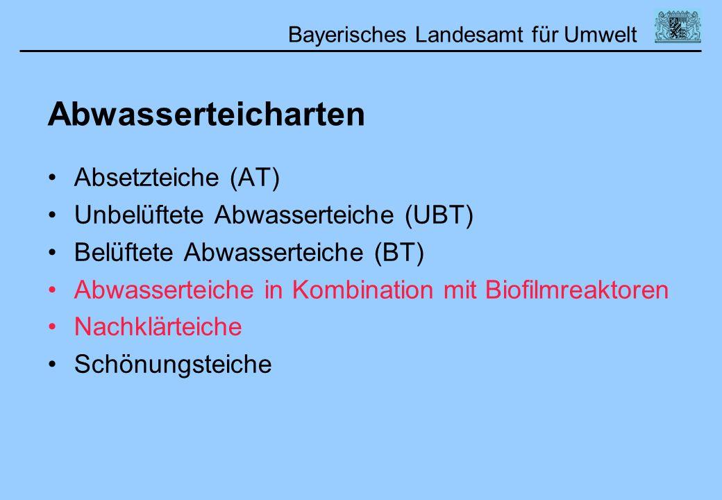 Bayerisches Landesamt für Umwelt Abwasserteicharten Absetzteiche (AT) Unbelüftete Abwasserteiche (UBT) Belüftete Abwasserteiche (BT) Abwasserteiche in