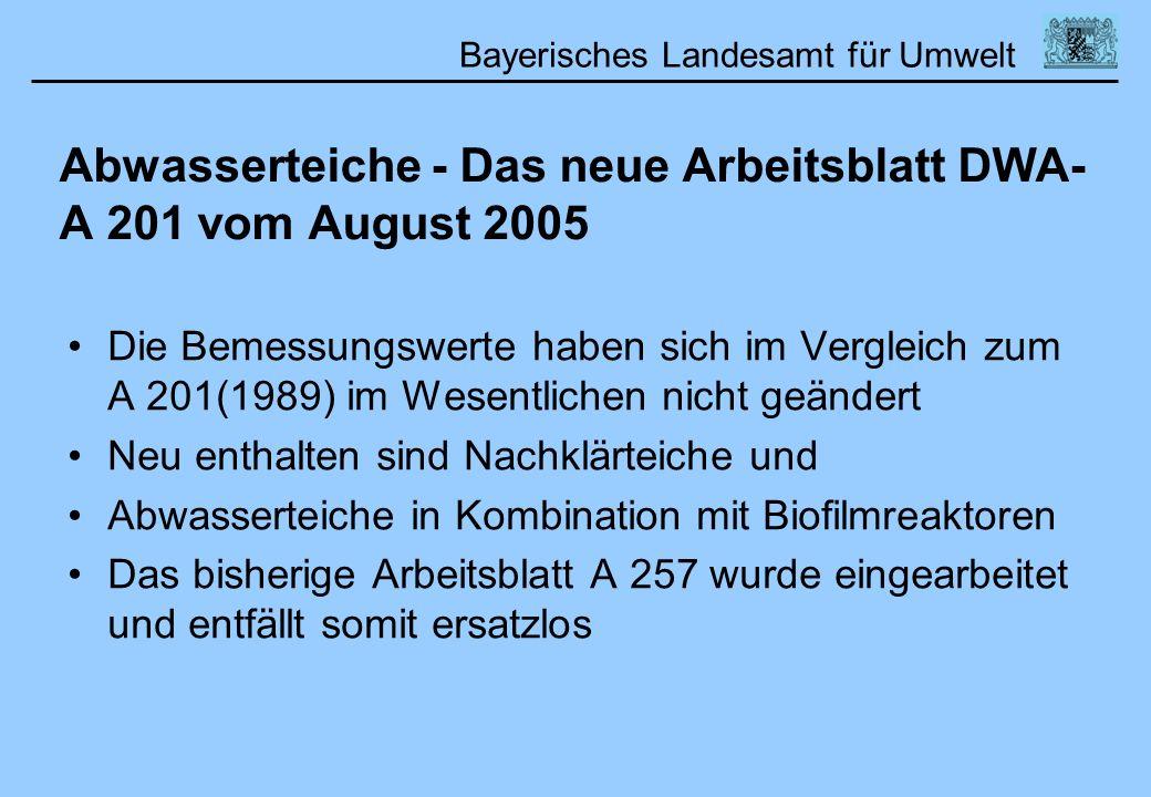 Bayerisches Landesamt für Umwelt Abwasserteiche - Das neue Arbeitsblatt DWA- A 201 vom August 2005 Die Bemessungswerte haben sich im Vergleich zum A 2