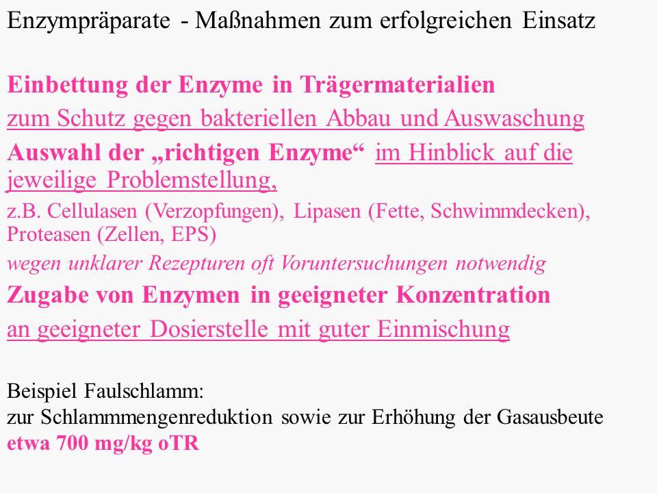 Enzympräparate - Maßnahmen zum erfolgreichen Einsatz Einbettung der Enzyme in Trägermaterialien zum Schutz gegen bakteriellen Abbau und Auswaschung Auswahl der richtigen Enzyme im Hinblick auf die jeweilige Problemstellung, z.B.