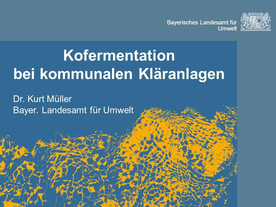 Bayerisches Landesamt für Umwelt Kofermentation bei kommunalen Kläranlagen Dr.