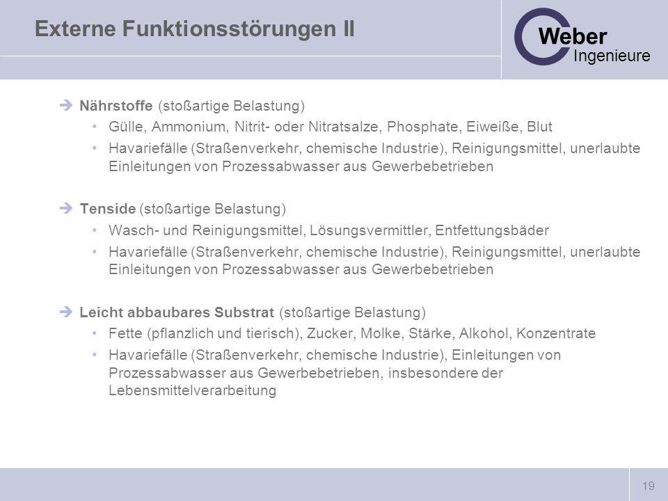 19 Weber Ingenieure Externe Funktionsstörungen II Nährstoffe (stoßartige Belastung) Gülle, Ammonium, Nitrit- oder Nitratsalze, Phosphate, Eiweiße, Blu