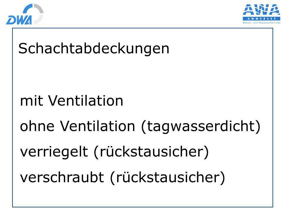 Schachtabdeckungen mit Ventilation ohne Ventilation (tagwasserdicht) verriegelt (rückstausicher) verschraubt (rückstausicher)