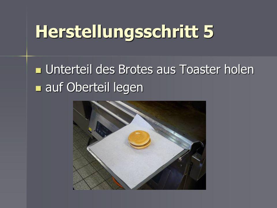 Herstellungsschritt 5 Unterteil des Brotes aus Toaster holen Unterteil des Brotes aus Toaster holen auf Oberteil legen auf Oberteil legen