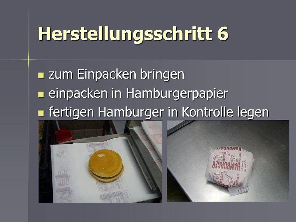 Herstellungsschritt 6 zum Einpacken bringen zum Einpacken bringen einpacken in Hamburgerpapier einpacken in Hamburgerpapier fertigen Hamburger in Kont