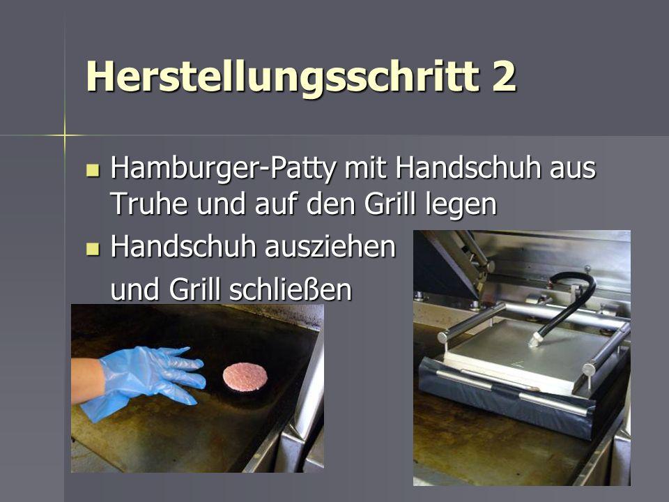 Herstellungsschritt 2 Hamburger-Patty mit Handschuh aus Truhe und auf den Grill legen Hamburger-Patty mit Handschuh aus Truhe und auf den Grill legen